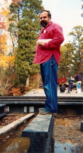 Rutgers professor, Tom Nosker, standing on an RPL i-beam.